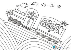 Cseppke vonatos kifestő színező