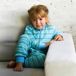 Kék–zöld csíkos pizsama