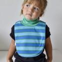 Kék–zöld csíkos nyári, rövid ujjú pizsama