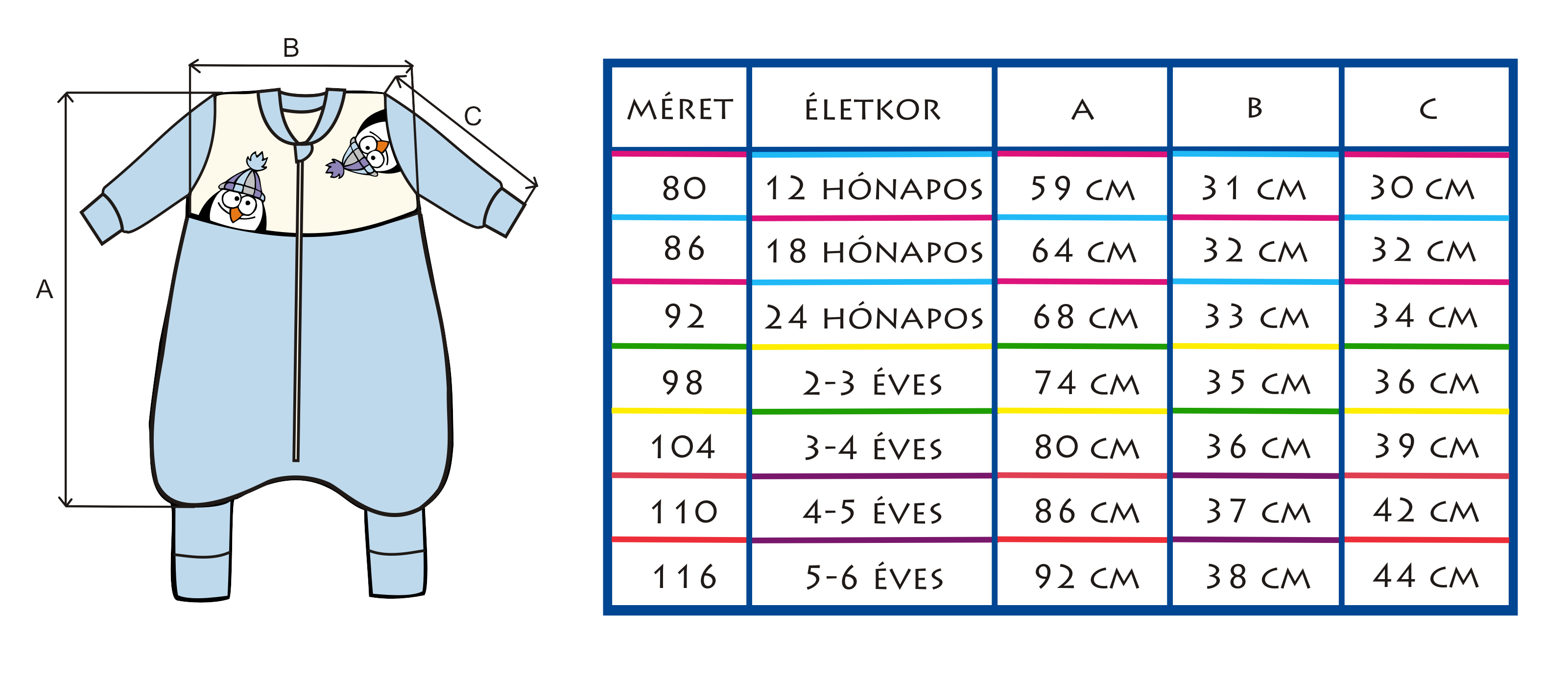 Cseppke hosszú ujjú tipegőhálózsák mérettáblázat
